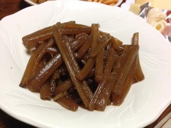 夕飯にフキの煮物.JPG